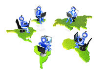 Blue mans with continents Royalty Free Stock Image