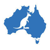 Blue map australia with silhouette kangaroo Royalty Free Stock Image