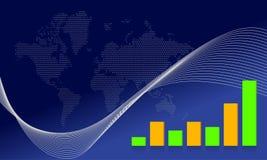 Blue map business wave background illustration Stock Photo