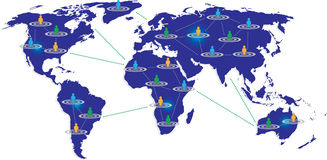 World map with people connectivity  Stock Images