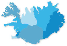 Blue map of Iceland with regions. Blue map of Iceland with regions with shadow. Projected in WGS 84 World Mercator (EPSG:3395) coordinate system Vector Illustration