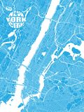 Blue map of New York City with Apple Logo. Very detailled version with bridges and without names. NYC-Apple logo grouped seperatly vector illustration