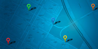 Blue map  POI Royalty Free Stock Photography