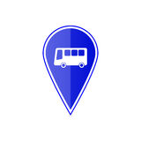 Blue map pointer with bus stop. Vector illustration. Blue map pointer with bus stop on the white background. Vector design Stock Photo