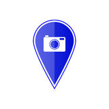 Blue map pointer with camera. Vector illustration Royalty Free Stock Image