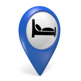 Blue map pointer 3D icon with a bed symbol for hotels. Rendered in 3D on a white background Stock Images