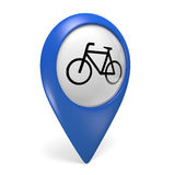 Blue map pointer 3D icon with a bicycle symbol for bike paths and cycling Royalty Free Stock Images