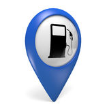 Blue map pointer 3D icon with a fuel pump symbol for gas stations Stock Images