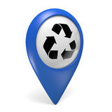 Blue map pointer 3D icon with a symbol for recycling centers. Blue map pointer icon with a symbol for recycling centers, rendered in 3D and isolated on a white Royalty Free Stock Photography