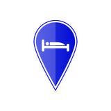 Blue map pointer with hotel location. Vector illustration. Blue map pointer with hotel location on the white background. Vector design Royalty Free Stock Photos