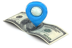 Blue Map pointer marking wealth and successs Royalty Free Stock Photo