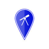 Blue map pointer with telescope. Vector illustration Royalty Free Stock Image