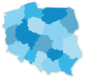 Blue map of Poland with voivodeships Royalty Free Stock Photo