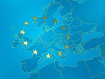 Blue map of tfe European union Stock Photos