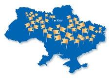 Blue map of Ukraine with many orange flags Royalty Free Stock Photos