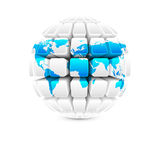Blue map on white globe Stock Images