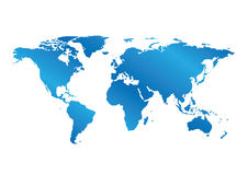 Blue map of the world with gradient - vector Royalty Free Stock Photos