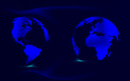 Blue maps. Illustrated photorealistic earth maps in blue nuance Stock Photography