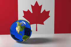Blue marble and Canada flag. 3d rendation Royalty Free Stock Images