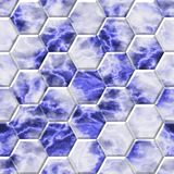 Blue marble hexacomb tiling surface seamless pattern texture background Stock Images