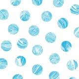 Blue marble polka dot watercolor pattern. Stock Image