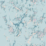 Blue marble texture with rose gold. Patina effect royalty free illustration