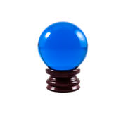 Blue marble. On wooden base over white background Stock Photography