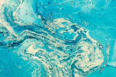 Blue marbling texture. Creative background with abstract oil painted. Royalty Free Stock Photos