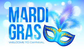 Blue Mardi Gras banner template with carnival mask Stock Photo