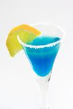 Blue Margarita. Margarita with lemon slice in a glass Stock Photos