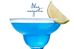Blue margarita cocktail closeup. Maragrita blue. Close up of traditional summer refreshing cocktail with curacao blue Stock Image