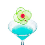 Blue margarita cocktail with lime fruit and cherry Stock Image