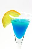 Blue Margarita in a Glass. Margarita with lemon slice in a glass stock photo