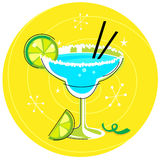 Blue Margarita: Retro cocktail icon. Fresh drink with a Slices of Lemon. Vector Illustration in retro style Royalty Free Stock Images