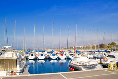 Blue marina port in Salou Tarragona Stock Image