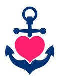 Blue marine anchor with a pink heart. Blue marine or ships anchor with a pink heart symbolising love and romance, a honeymoon or Valentines cruise or a love of Royalty Free Stock Photo
