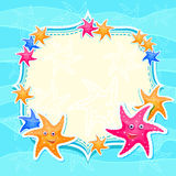 Blue Marine Invitation Card with Bright Starfishes Stock Photo