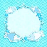 Blue  Marine Invitation Card with Starfish Stock Image