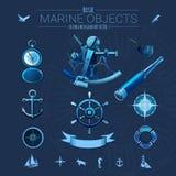 Blue marine objects vector illustration