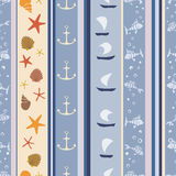 Blue marine pattern. Abstract geometric seamless  pattern with shells, boats and fishes Royalty Free Stock Photography