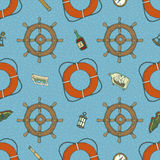 Blue Marine Seamless Pattern Royalty Free Stock Photography