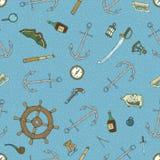 Blue Marine Seamless Pattern Royalty Free Stock Photo