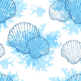 Blue marine seamless pattern Stock Image