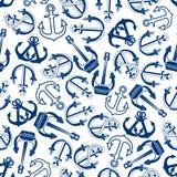 Blue marine ships anchors seamless pattern Royalty Free Stock Image