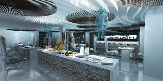 Blue mariner bar. The inside of the bars and restaurants. Decorated with the idea that sea nomads and fishermen village is a modern design that brings a whole Royalty Free Stock Photos