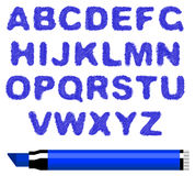 Blue marker alphabet Royalty Free Stock Photography