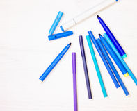 Blue markers and felt pens Royalty Free Stock Photography
