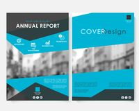 Blue marketing cover design template for annual report vector. Modern minimalist business concept booklet. Flyer. Leaflet magazine brochure with text stock illustration