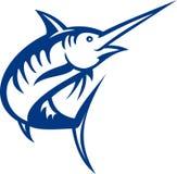 Blue marlin fish jumping. Illustration of a blue marlin fish jumping isolated on white Royalty Free Stock Photo