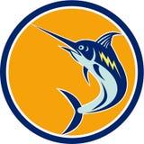 Blue Marlin Fish Jumping Circle Retro Stock Photography